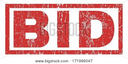 Bid text rubber seal stamp watermark. Caption inside rectangular shape with grunge design and dust texture. Horizontal vector red ink emblem on a white background.