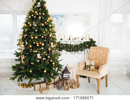 Interior Room Decorated In Christmas Style. No People. An Empty Chair. Neutral Colors. Home Comfort