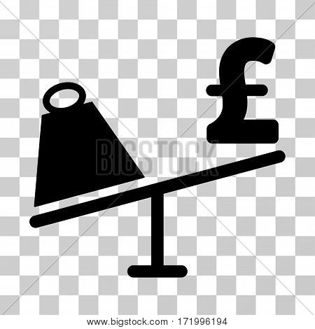 Market Pound Price Swing vector icon. Illustration style is a flat iconic black symbol on a transparent background.