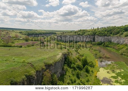Green Canyon In Kamenetz-podolsk, Ukraine And The Sky With Clouds