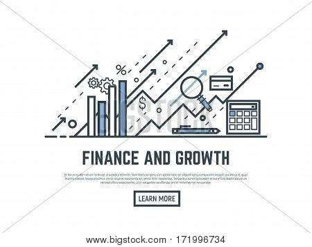 Financial growth concept illustration. Magnifying glass calculator arrows and graph stats. Thin line style banner. Trendy vector placard with text and button.