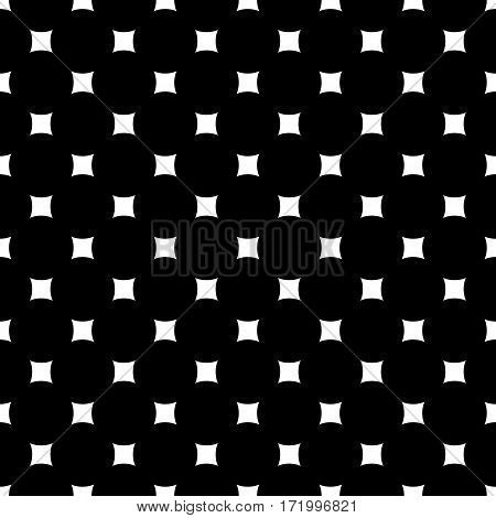 Vector monochrome seamless pattern. Simple dark minimalist geometric texture with rounded squares & rhombuses. Abstract endless black & white background. Stylish design for prints, decoration, textile, fabric, digital, web