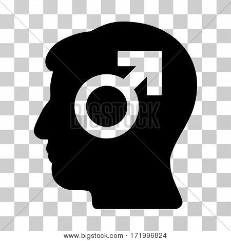 Mind Potency vector pictograph. Illustration style is a flat iconic black symbol on a transparent background.