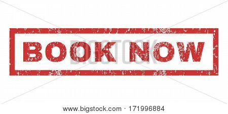Book Now text rubber seal stamp watermark. Tag inside rectangular shape with grunge design and unclean texture. Horizontal vector red ink emblem on a white background.