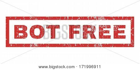 Bot Free text rubber seal stamp watermark. Caption inside rectangular shape with grunge design and dust texture. Horizontal vector red ink sign on a white background.