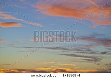 Beautiful colorful sunset clouds over Adriatic sea
