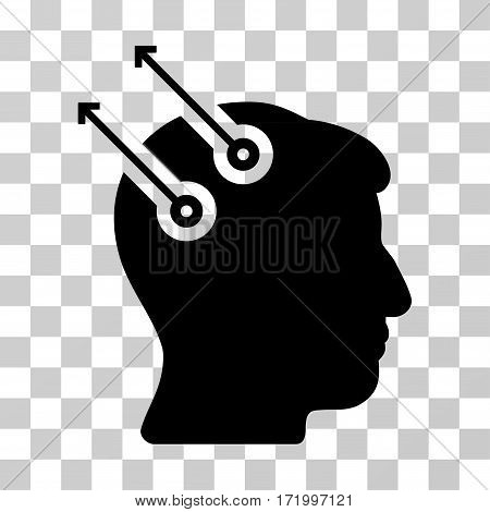 Neural Interface Plugs vector pictogram. Illustration style is a flat iconic black symbol on a transparent background.