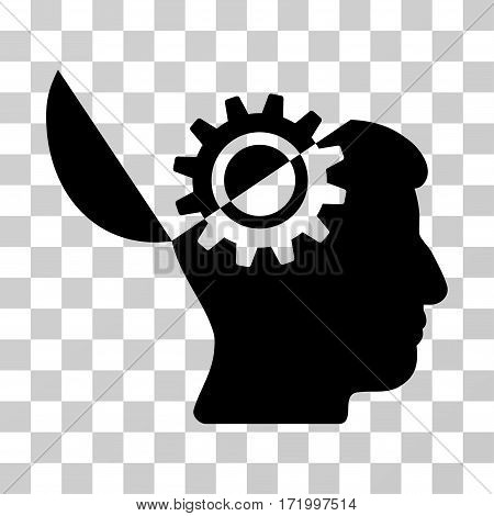 Open Mind Gear vector icon. Illustration style is a flat iconic black symbol on a transparent background.