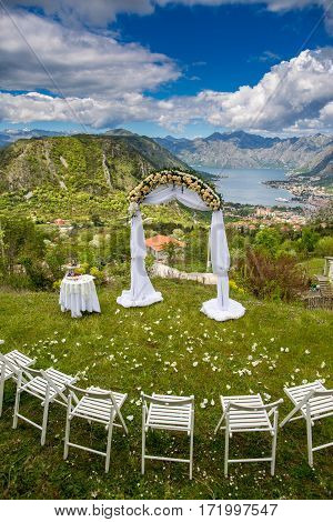 Wedding arch and decoration in nature over Adriatic sea