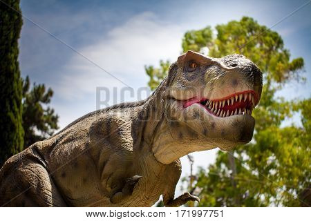 Scary t-rex monster dinosaur hunting in forest