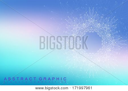 Fractal element with connected lines and dots. Big data complex. Virtual background communication or particle compounds. Digital data visualization, minimal array. Lines plexus. Vector illustration