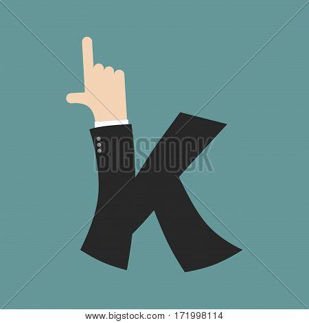 K Letter Businessman Hand Font. It Shows Finger Print. Arm Symbol Alphabet. Sign Of Abc