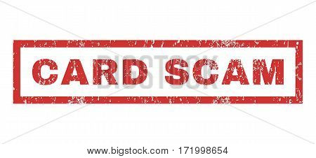 Card Scam text rubber seal stamp watermark. Tag inside rectangular banner with grunge design and dirty texture. Horizontal vector red ink sticker on a white background.