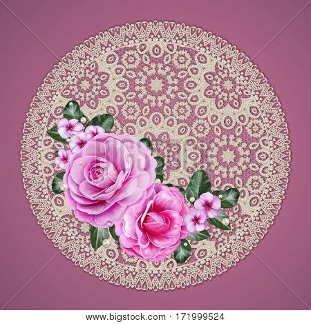 Floral background. Bouquet pink roses camellia green leaves. Openwork texture lace pearls weaving beads. The round shape border. Old vintage style.