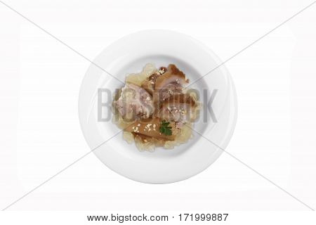 cold jellied pork muzhuzhi traditional Georgian dish white background top view