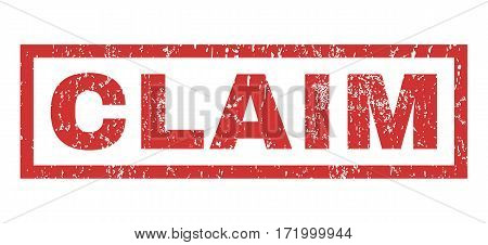 Claim text rubber seal stamp watermark. Tag inside rectangular shape with grunge design and dirty texture. Horizontal vector red ink emblem on a white background.