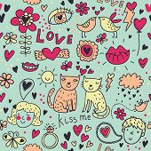 Cartoon romantic seamless pattern with kids, cats, birds and so on