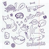 Animals doodle set poster
