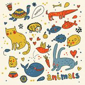 Cute animals doodles in color poster