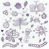 Funny insects - cute doodle set scrapbook page poster