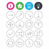 Information, light bulb and report signs. Arrows line icons. Download, upload, check or tick symbols. Refresh, fullscreen and shuffle thin outline signs. Favorite star symbol. Flat buttons. Vector poster