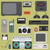 Set of gadget of 90s color icons, design elements. Flat retro style. Vector illustration. Technology 90s poster