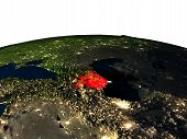 Azerbaijan at night as seen from Earth's orbit in space. 3D illustration with highly detailed realistic planet surface and city lights. Elements of this image furnished by NASA. poster