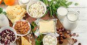 Foods rich in calcium. Healthy diet food. Top view poster