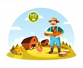 Eco farm with farmer holding eggs and hen near field with barns and hay. Cartoon man or person with organic or natural food near fence or spade, agrarian worker profession. Village, countryside theme poster