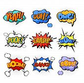 Onomatopoeia or comic bubble speech for cartoon replica like yeah and oh, ooh and splash, omg and oops, poof and boom, bang explosion signs, dialog exclamation. Cloud with text and communication poster