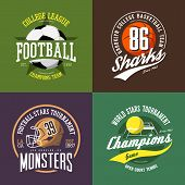Soccer ball badge, basketball and volleyball signs, american football helmet or cap, scrum or face mask. Clothing print design or sport t-shirt print. Competition and tournament logo, athletic club poster