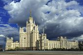 High-rise Stalin residential building on Kotelnicheskaya embankment built 1938-1952. Moscow, Russia. poster