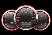Speedometer, tachometer, fuel and temperature gauge. Black car dashboard with red backlight. Vector illustration poster