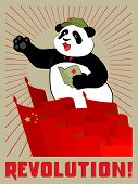 Panda in the cap with a red star holds in paws quote pad Mao Zedong on meeting. Red flags, the sun's rays and the inscription revolution. Poster in the China communist style. poster