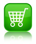 Ecommerce icon isolated on special green square button abstract illustration poster