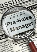 Pre-Sales Manager - Job Vacancy in Newspaper. Newspaper with Small Ads of Job Search Pre-Sales Manager. Hiring Concept. Selective focus. 3D Illustration. poster