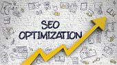 White Brickwall with SEO Optimization Inscription and Orange Arrow. Increase Concept. SEO Optimization Drawn on White Wall. Illustration with Doodle Icons. poster