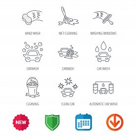 Car wash icons. Automatic cleaning station linear signs. Washing windows, sponge and foam bucket flat line icons. New tag, shield and calendar web icons. Download arrow. Vector