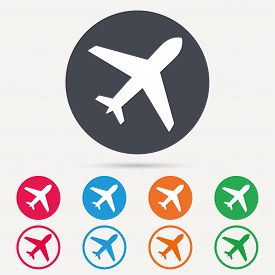 Plane icon. Flight transport symbol. Round circle buttons. Colored flat web icons. Vector