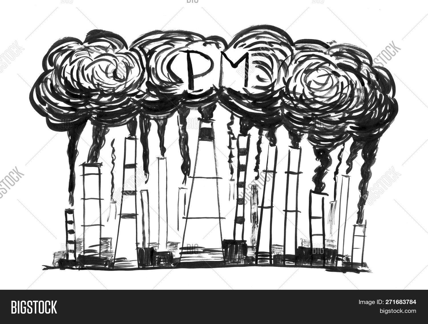 Hand drawing of smoke coming from industry or factory smokestacks or chimneys into air environmental concept of particulate matter or pm air pollution
