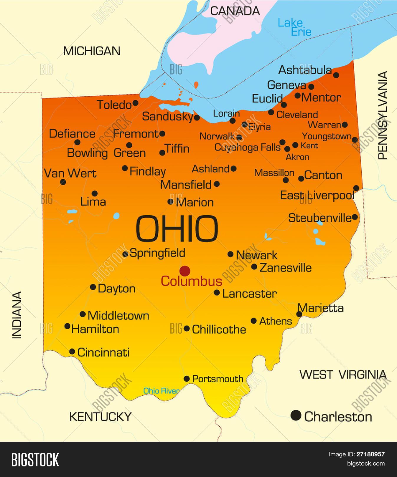 Vector Color Map Ohio Vector & Photo (Free Trial) | Bigstock