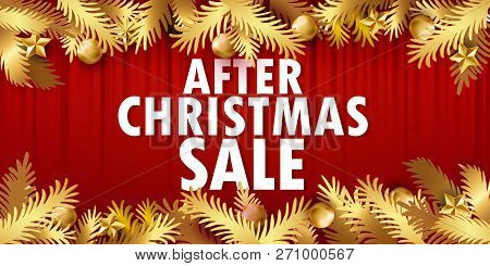After Christmas Sale Banner. Paper Art Cut Out Golden Fir Tree Branches In Frame Design With Modern