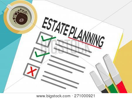 Estate Planning Or Plan Icon Concept. One Task Failed. Paper Sheets With Check Marks, Abstract Text