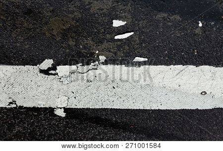 Road Markings On Asphalt On The Street Of Manhattan In New York City. Pedestrian Crossing On The Roa