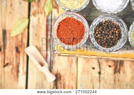 Flat Lay Of Seasoning Background. Spice And Herb Seasoning With Fresh And Dried