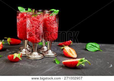 Summer Refreshing Strawberry Sorbet, Slush Granita Drink