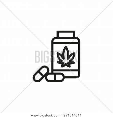 Prescribed Drug Line Icon. Painkiller, Anesthetic, Addiction. Cannabidiol Concept. Vector Can Be Use