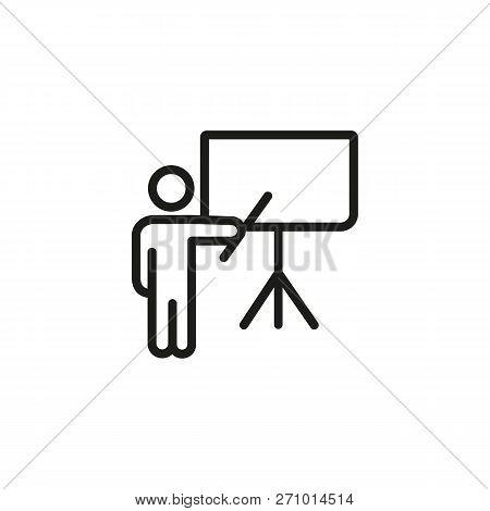 Presenter At Flipchart Line Icon. Business Coach, Conference, Teacher. Training Concept. Vector Illu