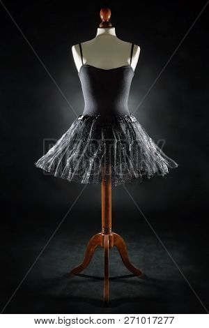 Tutu On A Dress Model Against Black