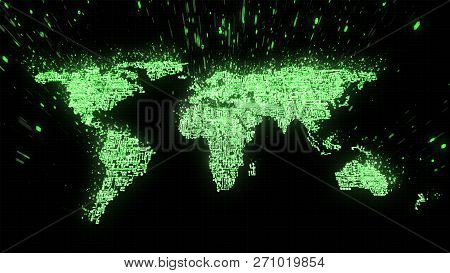 3d Illustration Of World Map Built From Circuitry And Binary Data In Green